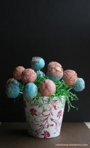Cake pops on a flower pot